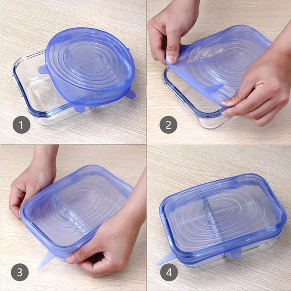 6 pcs Universal Silicone Food Lids Silicone Stretch Caps Keeping Food Fresh Pot Dish Kitchen Accessories
