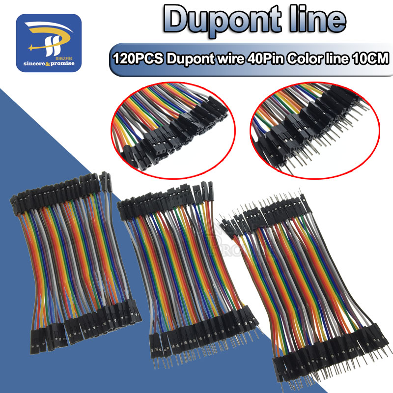 Dupont Line 120pcs 10CM 40Pin Male to Male + Male to Female and Female to Female Jumper Wire Dupont Cable for Arduino DIY KIT