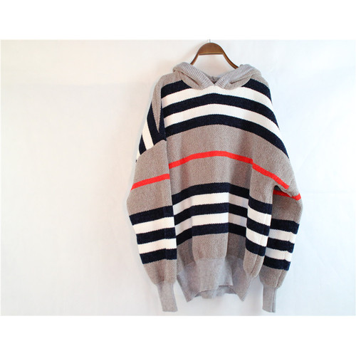 Striped Knitted Sweater with Hood