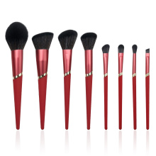 8PC Hot Red Makeup Brush Set