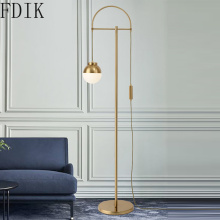 Nordic Gold Led Floor Lamp Simple Round Ball Standing Light for Living Room Bedroom Home Decoration Indoor Lighting fixtures G9