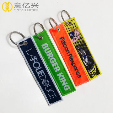 fashion high quality color logo embroidered woven keychain