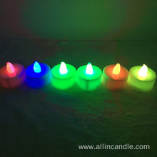 Led tealight candle with color light flickering