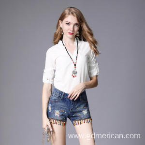 Ripped Frayed Fringed Handmade Beaded Denim Shorts Jeans Splashed with Paint