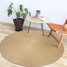 Straw Rug Hand-Woven Carpet Tan Round Jute Rug Rural Style Floor Mat Children's Games Floor Carpet For Living Room Decoration