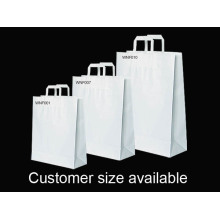 Custom White Flat Handle Kraft Shopping Bag