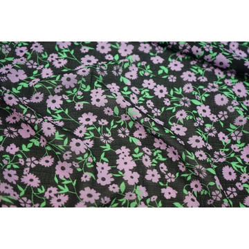 Polyester Spandex Small Check Dobby Chiffon Print Fabric
