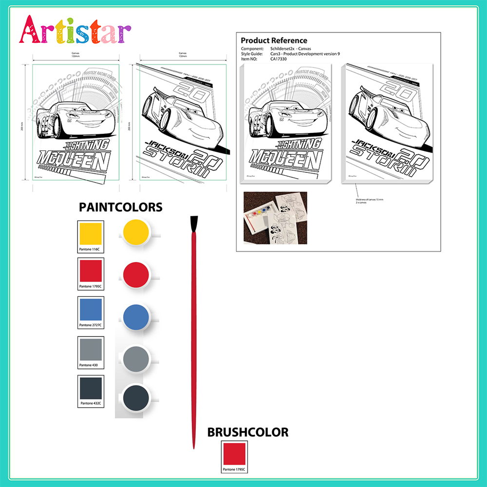 Disney Pixar Cars Colouring Canvas Set 03