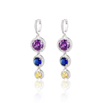 Fashion Long Drop Colorful CZ Dangle Earrings