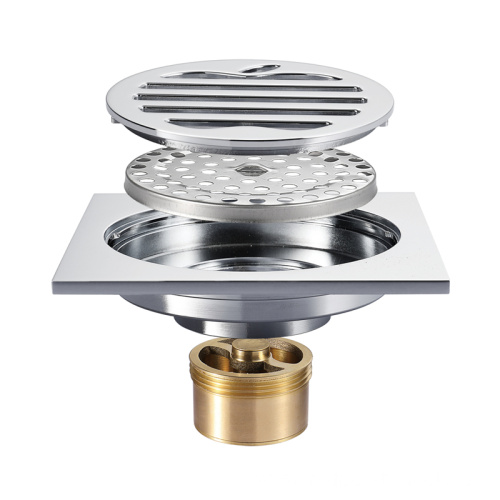 Bathroom Anrti-odor Full Copper Chrome Floor Drain