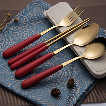 Wheat Box Gold Plated Ceramic Handle Flatware Sets
