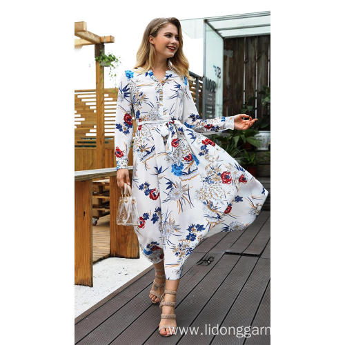 Women Casual Long Sleeve Chiffon Lace Dress