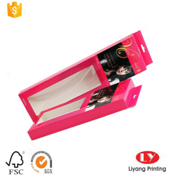 Hanging box with window for hair packaging
