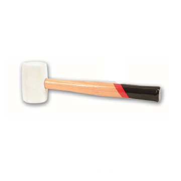 White rubber hammer with wooden handle  24oz