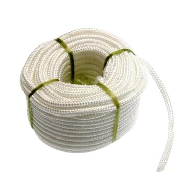 3 strand White polyester rope with red line