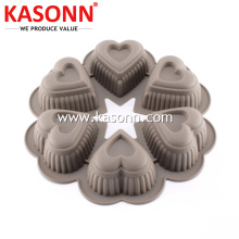 Round 6 Cups Silicone Heart Mold Pan