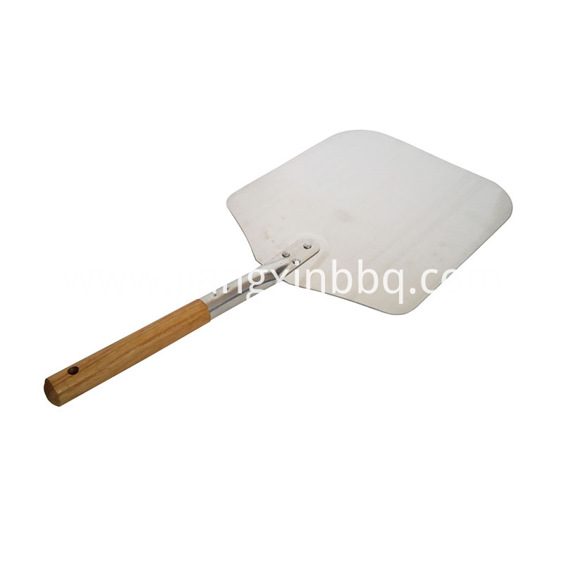 14 Inch Aluminium Pizza Shovel With Wooden Handle Side View