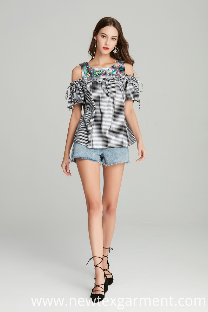 Ladies Woven Check Top
