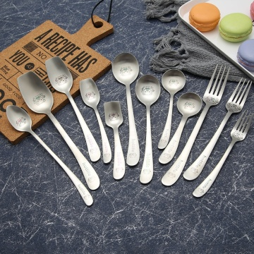 Matte polish children cutlery spoon and fork set