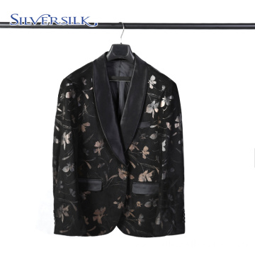 Custom Made Black Floral Blazer Suit for Men