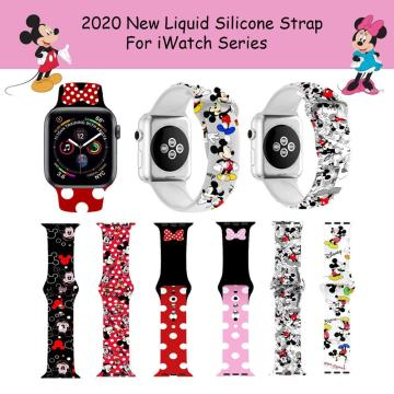 Disney Mickey Minnie Stitch Watch Strap for iWatch 4 5 Silicone Wristband Bracelet Replacement for iWatch 1 2 3 Watch Band Strap