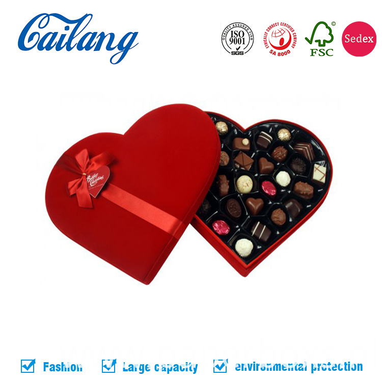 Red Fabric Heart-Shape Box for Chocolate with Custom Divider