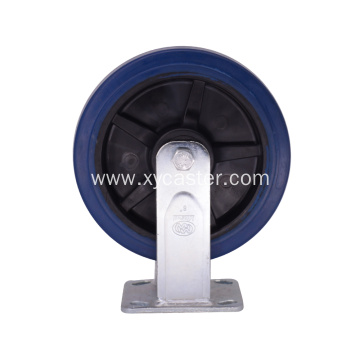 8 inch Blue Rubber Wheel Rigid Caster