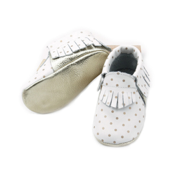 Quality Real Leather Gold Dots Baby Moccasins