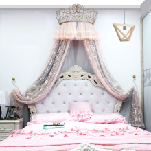 Princess Crown Mosquito Net Bed Curtain Girl Children Room Decor Bedside background Yarn Romantic Tents Bed Canopy Valance