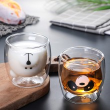 Lovely Glass Mugs Bear Cat Dog Animal Double-layer Tea Milk Coffee Cup With Round Mouth Prevent Scald Cartoon Christmas Gift