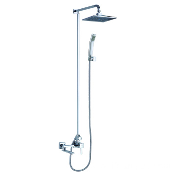 Exposed pipe shower system with tub faucet