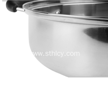 Stainless Steel Hot Pot With Glass Lid