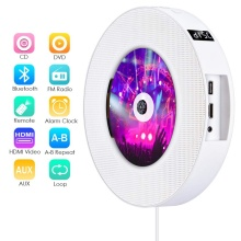 Portable DVD CD Player Wall Mountable Wireless Bluetooth Home Music Player with Remote Control FM Radio Speakers MP3