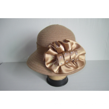 Women's Wool Fabric Ribbon Church Hats--YJ74