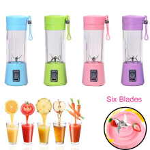 6 Blades Portable Blender Travel USB Electric Juicer Cup Machine Electric Kitchen Food Fruit Vegetable Smoothie Mixer