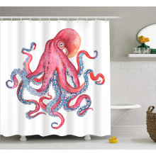Cute Octopus with Tentacles 3D Printed Waterproof Screen Polyester Fabric Sea Animal Washable Shower Curtain Dorm for Home Decor