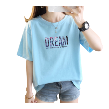 Womens Cute Printed Short-sleeved Cotton T-shirts