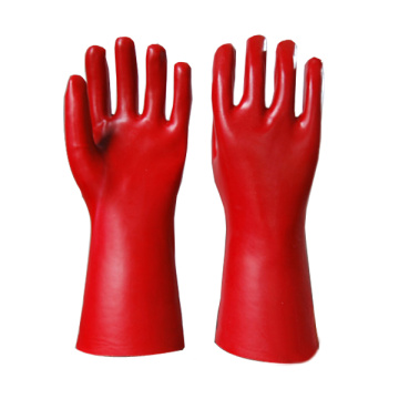 Red PVC chemical proof gloves