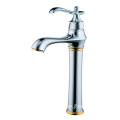 Chrome brass single lever bathroom basin faucet tall
