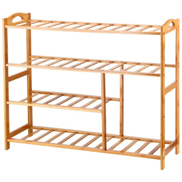 Bamboo 4-Tier Shoe Rack 10-13 Pairs Entryway Shoe Shelf Storage Organizer