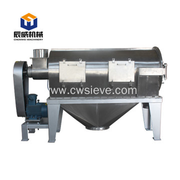 Horizontal airflow rotary sieve for food powder screening
