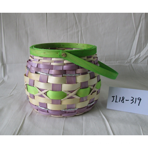 Round Wood Chip Flower Pot