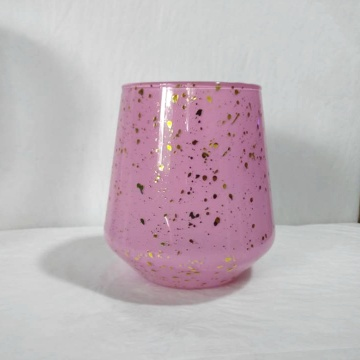 Colorful mecury gold dots glass candle holder glass jar candle