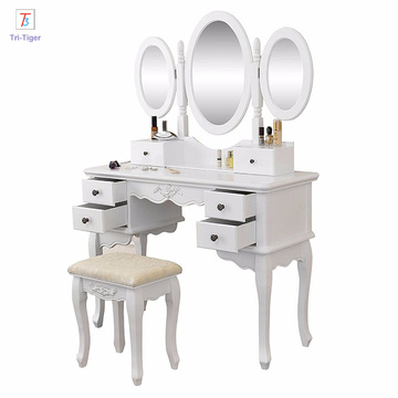 Vanity dressing table Solid Wood Modern Furniture makeup dresser with mirror