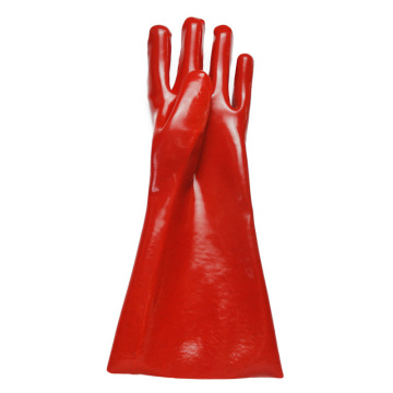 Red PVC resin Smooth finish Protective gloves 40cm