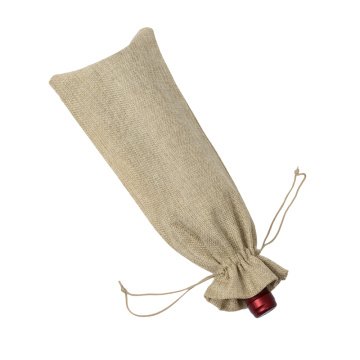 Burlap Environmental Friendly Recyclable Wine Bottle Pouch Long Drawstring Bag