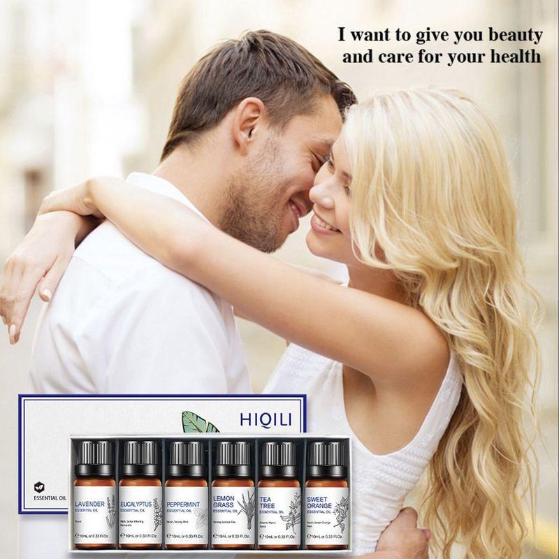 HIQILI Gift Box Coconut Oil Tea Tree Peppermint Lavender Humidifier Diffuser Massage Body Care Essential Oils 10ML 6Pcs/set