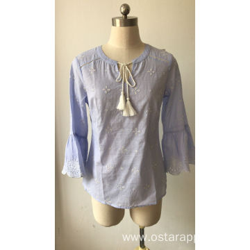 Embroidery Cotton Voile Stripe Blouse for Women