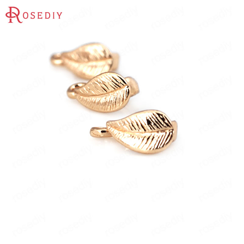 10PCS 4x8MM 24K Champagne Gold Color Plated Brass Tree Leaf Leaves Charms Pendant Connector High Quality Jewelry Accessories
