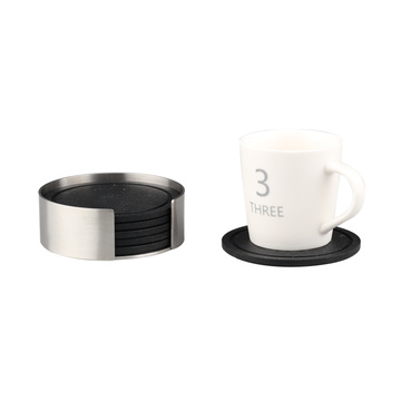 Stainless Steel Holder with Black DrinkSilicone Coaster Set